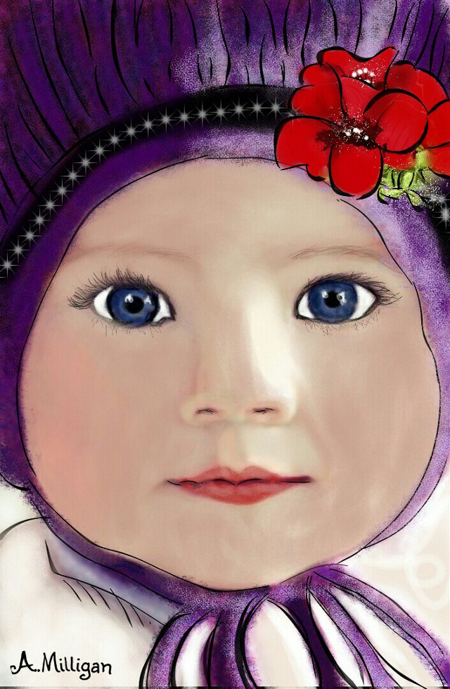 #wdpsketchportrait My second entry for sketch portrait 😊  #baby  #colorsplash  #colorful  #cute  #flower  #love  #people  #sketch  #draw 😊💚❤