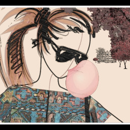 freetoedit drawing clipart bubble girl wapautomnvibes