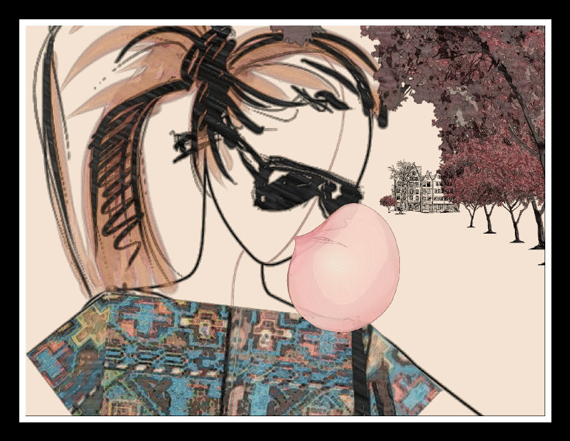 #FreeToEdit  #drawing  #clipart  #bubble  #girl  #trees  #house  #dress  #fall  #colors  #happy  #people  #wapautomnvibes