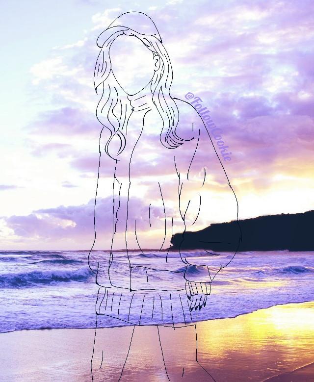 #FollowCookie #draw #Asiangirl #vintage #summer #sunset #sky #sun #evening