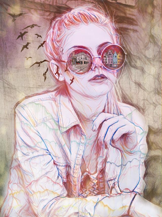 #papereffect #sketchereffect #sunglasses #citylife #birds #girl #editedwithpicsart