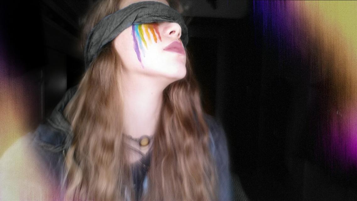 #FreeToEdit #rainbow #rainbowmakeup #happy #lightanddark