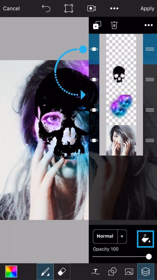 PicsArt Tutorial - Galaxy Skull 14