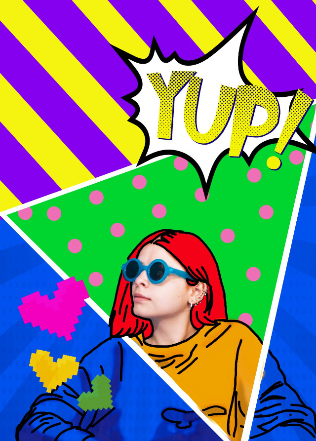 My first foray into the bright world of #popart! What do you think?     #girl #bright #colorful #surreal #hearts #yup #drawing #fun #people #FreeToEdit