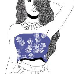 outlines tumbrlgirl flowers hispanic blue