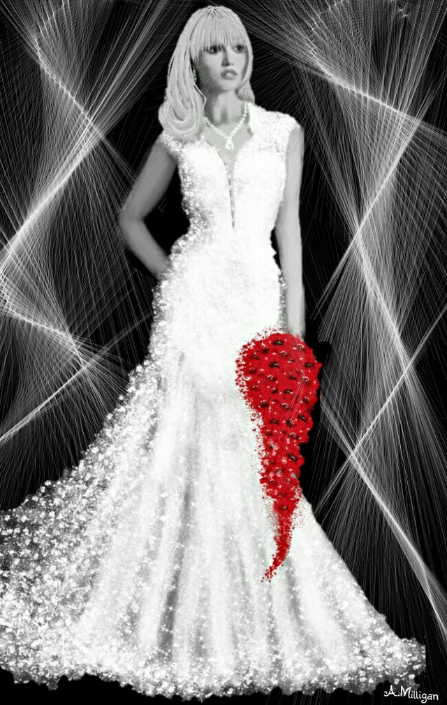 #wdptwotone Sorry not that happy with her face but something a bit different.😊  #colorsplash  #blackandwhite  #bride  #red  #white  #design  #draw😊💚❤