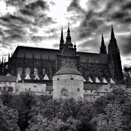 prague cathedral blackandwhite praguecastle view