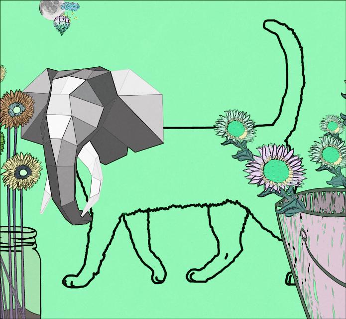 #FreeToEdit  #cat  #elephant  #clipart  #moon  #balloon  #zeplin  #flowers  #green  #cloud  #stars
