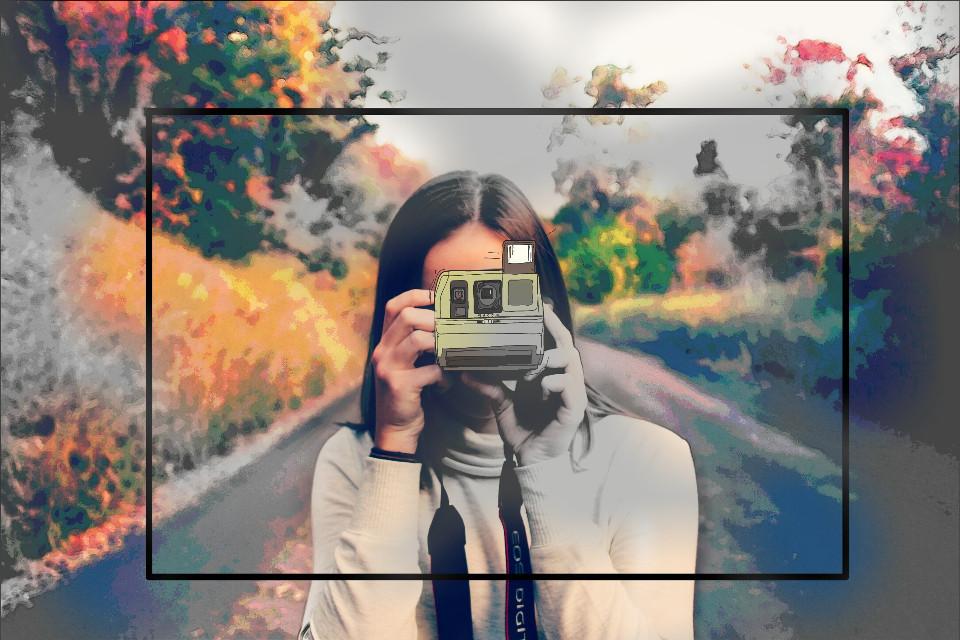 #FreeToEdit #remixed #remix #remixme #camera #autumn #blackandwhite #girl  #picsart