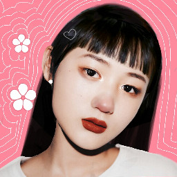 cute girl pink flowers asian