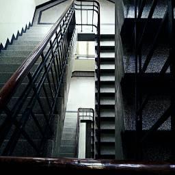 upstairs downstairs steps treppenhaus window daylight