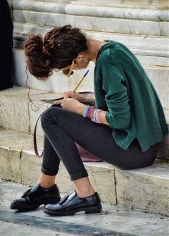 writing woman people streetphotography streetphoto sitting FreeToEdit