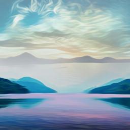 freetoedit lake mountains pink blue wapcutout