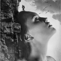 freetoedit blackandwhite girl cliffside stone
