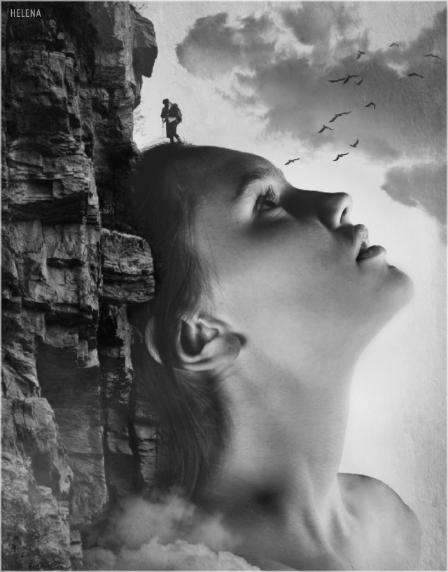 Mountain climber #freetoedit #blackandwhite #girl #cliffside #stone #edited #myedit #clipart #solitary #person
