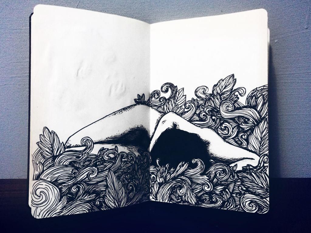 #drawing #blackandwhite #body #art #moleskine #FreeToEdit